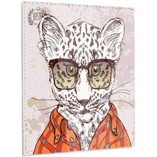 'Funny Hipster Leopard with Glasses' Graphic Art on Metal