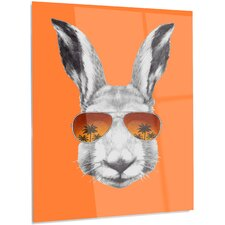 'Funny Rabbit with Sunglasses' Graphic Art on Metal