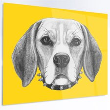 'Funny Beagle Dog with Collar' Graphic Art on Metal