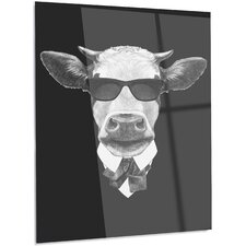 'Funny Cow in Suit with Glasses' Graphic Art on Metal