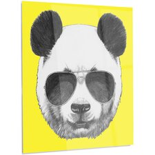 'Funny Panda with Sunglasses' Graphic Art on Metal