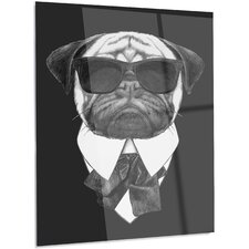 'Funny Dog with Black Glasses' Graphic Art on Metal