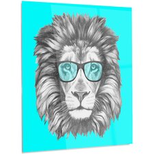 'Funny Lion with Blue Glasses' Graphic Art on Metal