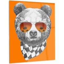 'Funny Bear with Sunglasses' Graphic Art on Metal