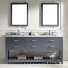 Caroline Estate 73 Double Bathroom Vanity Set with White Marble Top and Mirror by Virtu USA