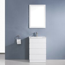 "Bruno 24"" Single Contemporary Bathroom Vanity Set with Ceramic Top and Mirror"