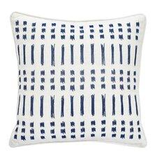 Amalfi Stripe Square Embroidered Cotton Throw Pillow