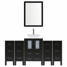 Modern 84 Single Bathroom Vanity Set with Mirror by LessCare