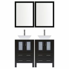 Modern 72 Double Bathroom Vanity Set with Mirror by LessCare