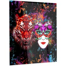 Abstract 'Tiger and Woman Colorful Faces' Graphic Art on Metal