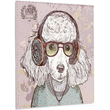 'Funny Hipster Poodle with Glasses' Graphic Art on Metal