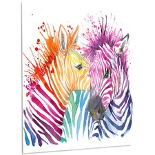 'Funny Zebra Graphical Watercolor' Graphic Art on Metal