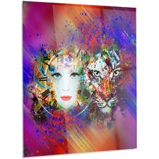 Abstract 'Colorful Tiger and Woman Face' Graphic Art on Metal
