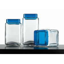 Euro Home Glass 3 Piece Kitchen Canister Set