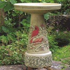 Burley Clay Summer Cardinal Birdbath