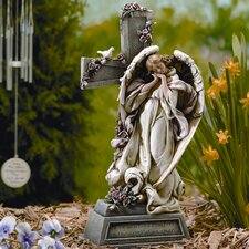 Garden Angel with Cross Statue