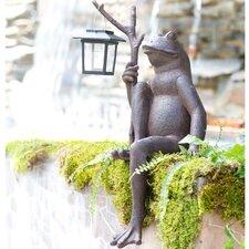 Sitting Frog with Solar Lantern Garden Statue