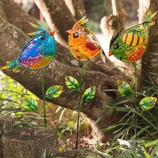 Colorful Bird 3 Piece Garden Stakes Set