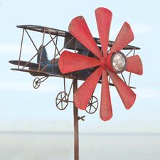 Biplane with Solar Light Wind Spinner