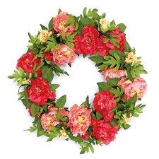 "Luxurious Peony Blossom 24"" Polysilk Wreath"
