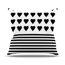 Heart Stripes by Project M Outdoor Throw Pillow by East Urban Home