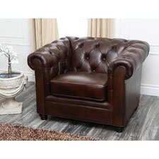 Galveston Premium Italian Leather Chesterfield Chair by Breakwater Bay
