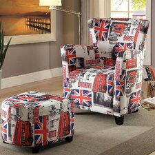 Leicester Wingback Chair and Ottoman by A&J Homes Studio