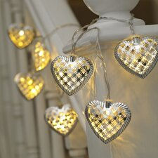 Metal Hearts 10 Light Lantern String Lights (Set of 6)