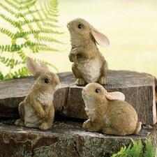 Garden Rabbit 3 Piece Statue Set (Set of 3)