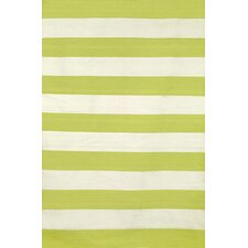 Torington Rugby Stripe Hand-Woven Lime Indoor/Outdoor Area Rug