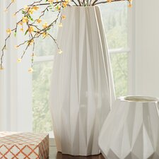 Contemporary Cylinder White Ceramic Table Vase