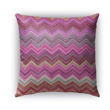 Pink Chevron Burlap Indoor/Outdoor Throw Pillow by Kavka