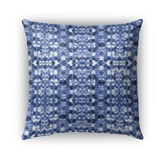 Shibori Mirror Burlap Indoor/Outdoor Throw Pillow by Kavka