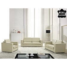 Mojokerto European 3 Piece Leather Living Room Set