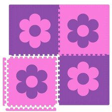 Economy SoftFloors Flower Set in Pink/Purple by Alessco Inc.