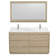Naya 60 Double Ash Gray Bathroom Vanity Set with Mirror by Wyndham Collection