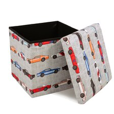 Kathie Race Cars Covered Collapsible Ottoman by Viv + Rae