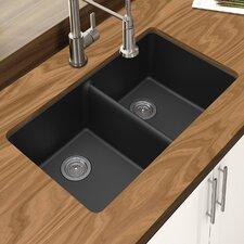 """Granite Quartz 33"""" x 18.75"""" Double Bowl Undermount Kitchen Sink"""