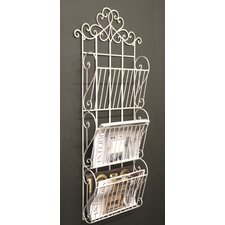 Metal Scroll Design Wall Hanging Magazine Rack with 3 Sections