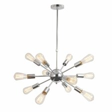 Vintage Metal Hanging Ceiling 12-Light Sputnik Chandelier
