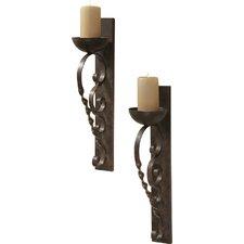 2 Piece Set Twisted Pillar Metal Sconce (Set of 2)