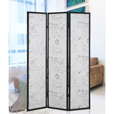 "70"" x 52"" Botticelli Screen 3 Panel Room Divider with English Script Print"