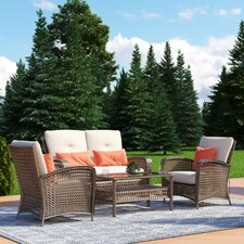 Lakewood Ranch 4 Piece Sofa Seating Group with Cushion by Cosco Home and Office