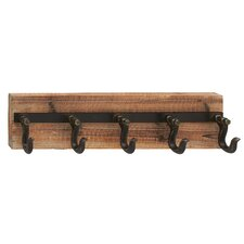 Wood and Iron Wall Mounted Coat Rack by Laurel Fou