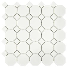 Retro Random Sized Porcelain Mosaic Tile in Matte White