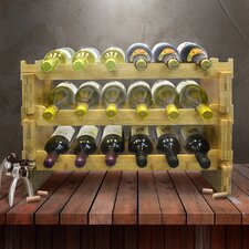 3-Tier Stackable Bamboo 18 Bottle Tabletop Wine Bottle Rack