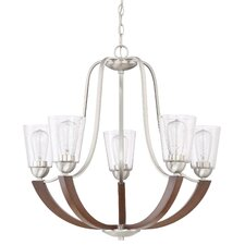 Chryses Brushed Nickel 5-Light Shaded Chandelier