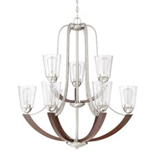 Chryses Brushed Nickel 9-Light Shaded Chandelier