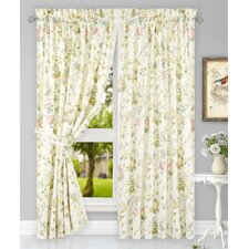 Kyra Hydrangea Tailored Nature / Floral Semi-Sheer Rod Pocket Curtain Panels (Set of 2)