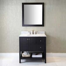 Templeton 36 Single Bathroom Vanity Set with Carrara White Top and Mirror by Latitude Run